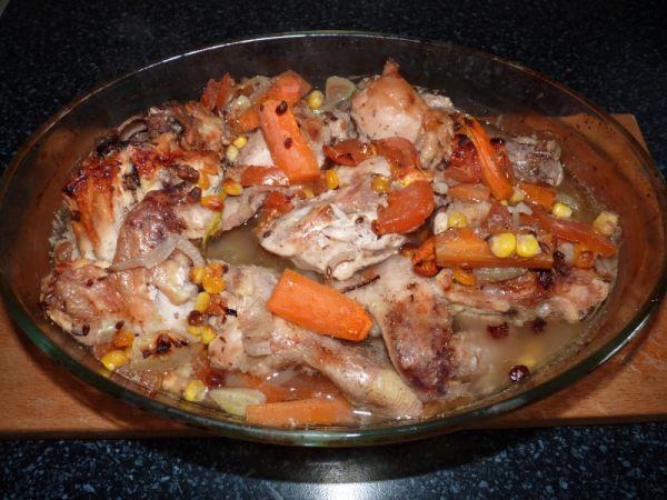 Grilované kurča so zeleninou |