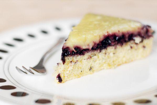 Citrónovo-čučoriedkový špaldový koláč |