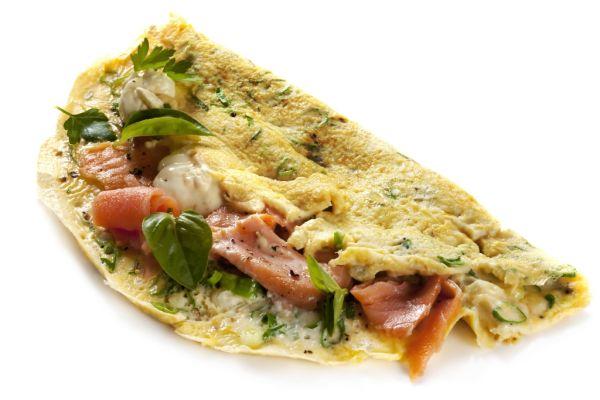 Omeleta s údeným lososom |