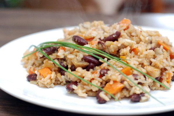 Šampiňónové indické rizoto s fazuľou |