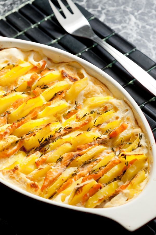 Zapečený pór so zemiakmi |