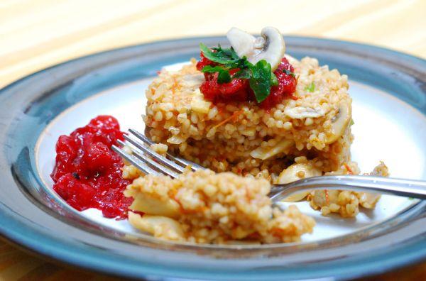 Hubové krúpové rizoto s rajčinami |