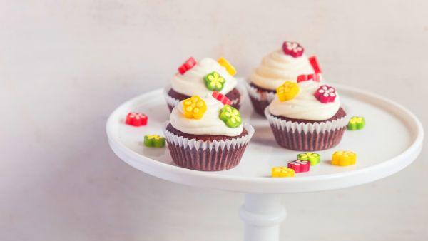 Kvetinové čokoládové cupcakes |