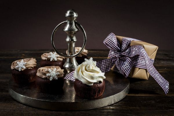 Vianočné čokoládové cupcakes s gaštanovým krémom |