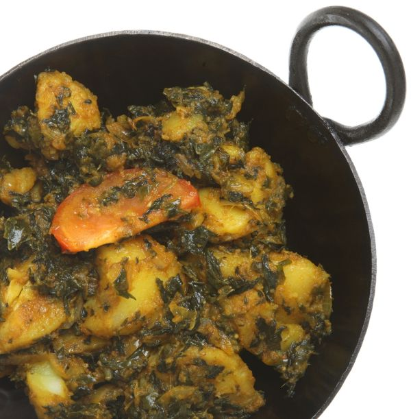 Indické zemiaky so špenátom a šošovicou |
