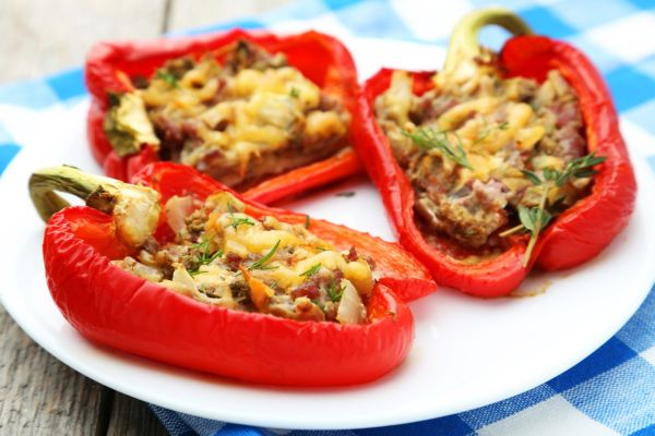 Paprika plnená hubami a ryžou |