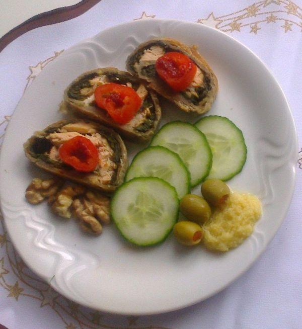 Lososové roládky so špenátom  