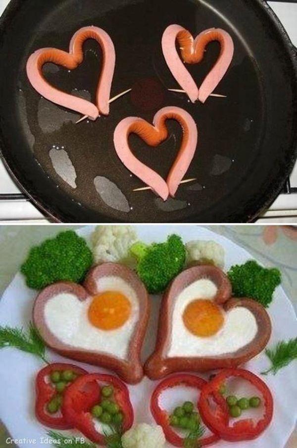 Srdiečka z párkov a vajíčok |
