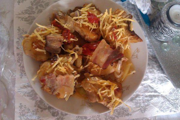 Dedinské kurča v slaninke  