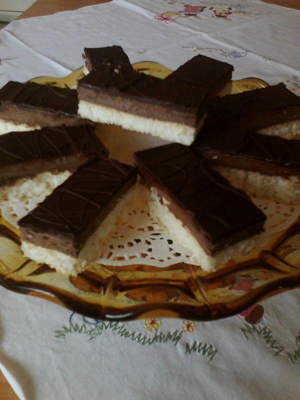 Kokosové tyčinky s čokoládovým krémom |