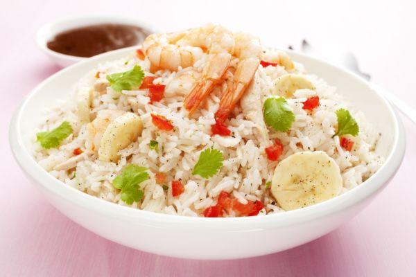 Kokosová ryža s granátmi a banánom |