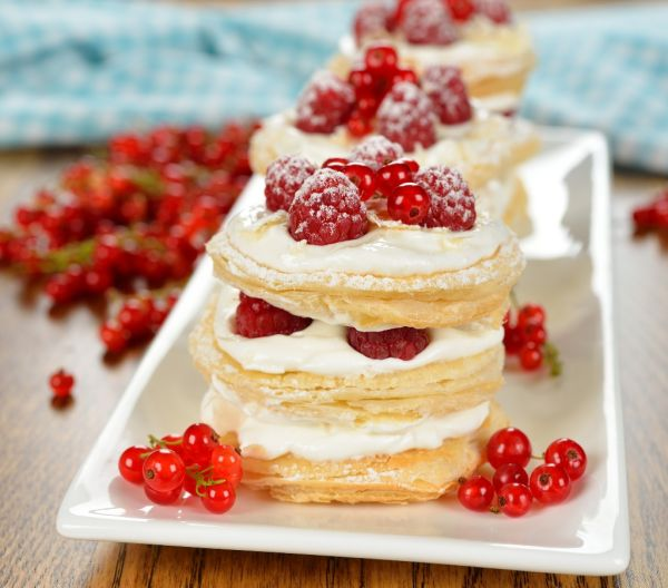 Millefeuille s malinami |