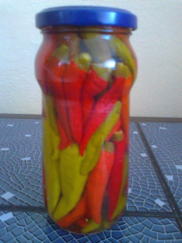 Zavárané pisterky  štipľavá paprika |