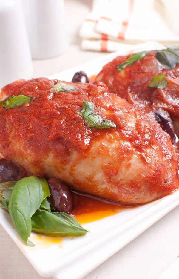 Kuracie prsia s paradajkami a olivami |