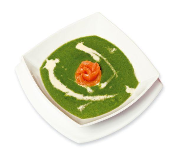 Špenátová polievka s údeným lososom |