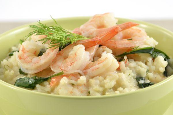 Špenátové rizoto s krevetami |