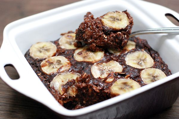 Zapekaná ovsená brownie kaša s banánom |