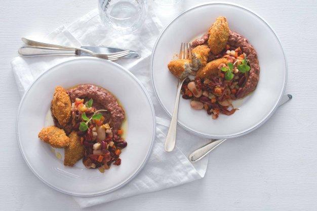 Rybí krokety s fazolovým pyré & salátem