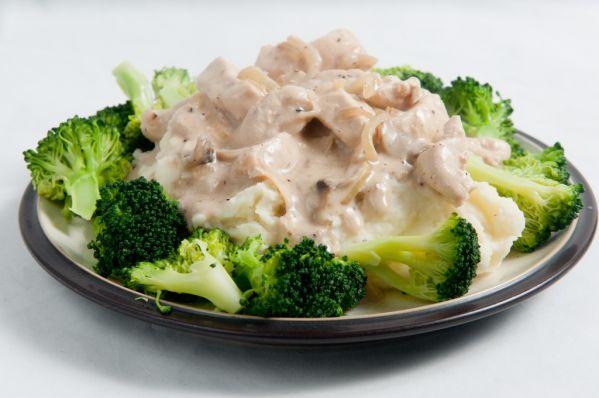 Kuracie mäso s hubovou omáčkou a brokolicou |