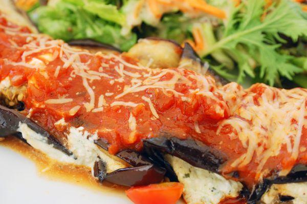 Zapečený baklažán s paradajkou a mozzarellou |