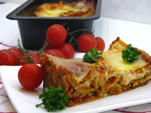 Vegetariánske lasagne so šošovicovou náplňou |