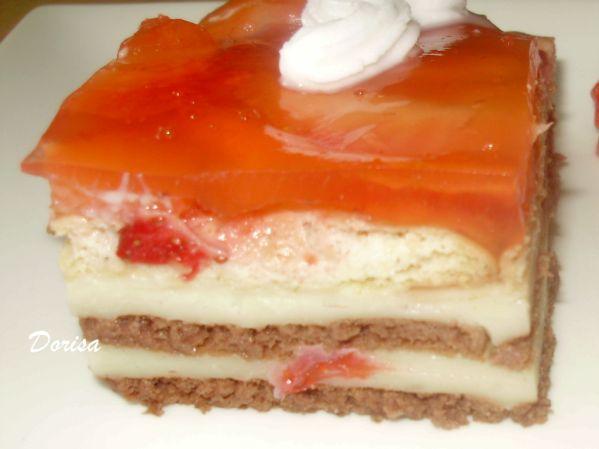 Nepečený jahodový koláč so želatinou |