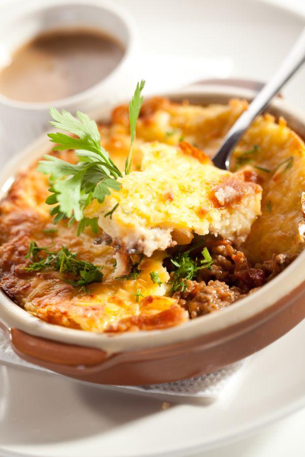 Nákyp zo zemiakovej kaše s mäsom |
