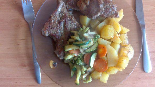 Bravčová krkovička s opekanou zeleninkou a ...