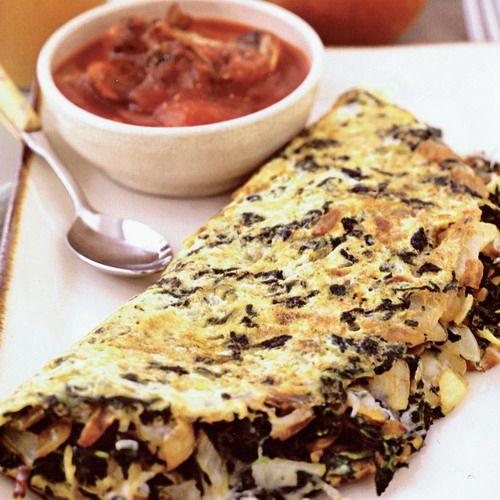 Špenátová omeleta s omáčkou |