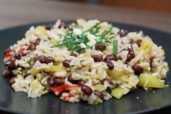Paprikové rizoto s adzuki fazuľou |
