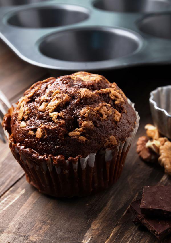 Čokoládové muffiny s banánom a orieškami  paleo  