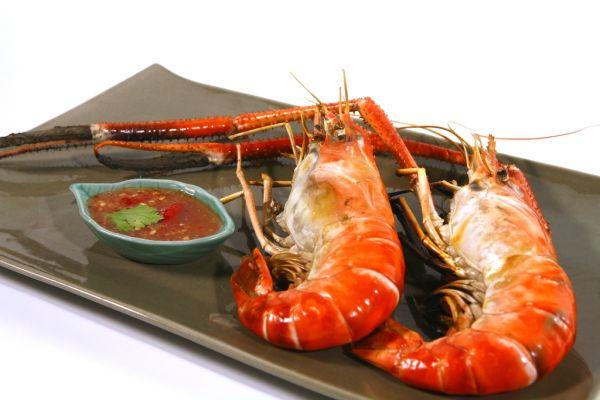 Grilované krevety s thajskou omáčkou z palmového cukru ...