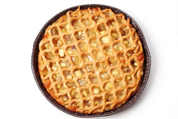 Jablkový mriežkovaný koláč s mandľami |