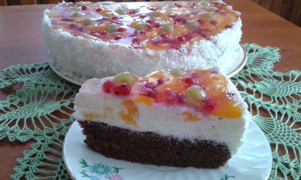 Tvarohovo-ovocná želé torta |
